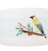 Winter Stoneware Platter w Yellow Bird