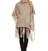 Fleurish Home Fringe Hem Turtleneck Poncho