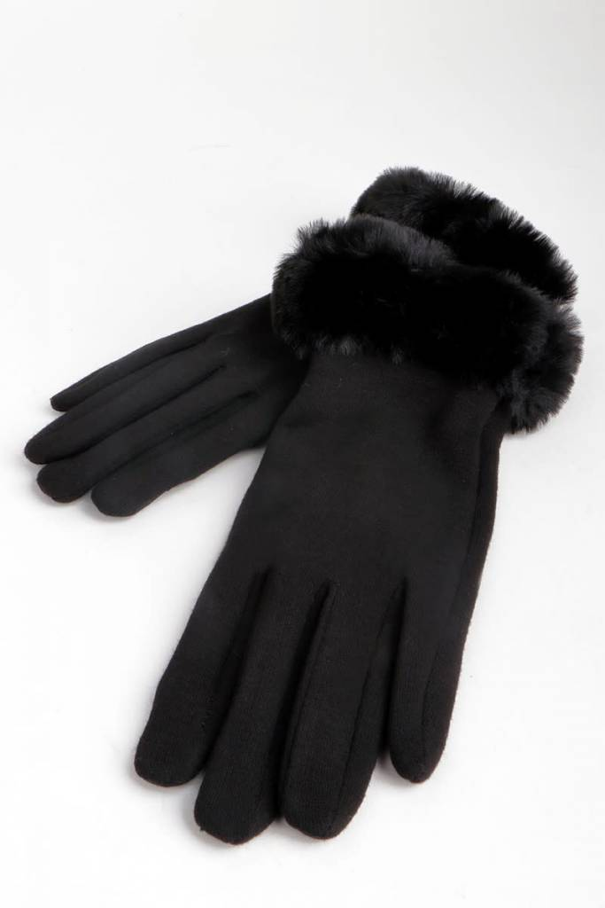 Fleurish Home Faux Fur Accented Knit Texting Gloves