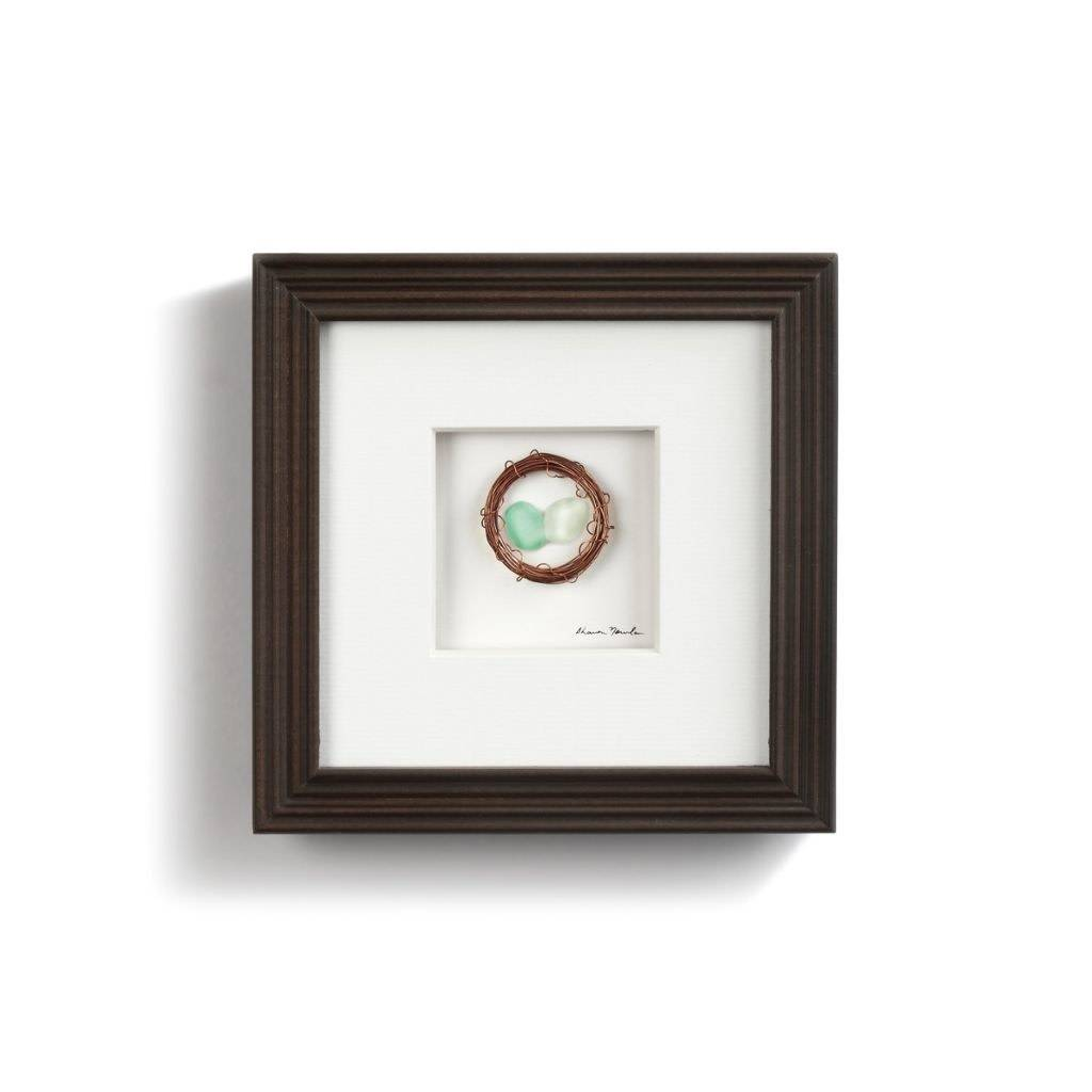 """Sharon Nowlan Two in the Nest Pebble Art 6"""" Square *last chance"""