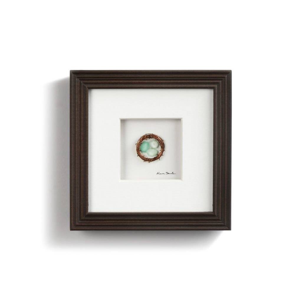 """Three in the Nest Pebble Art 6"""" Square *last chance"""