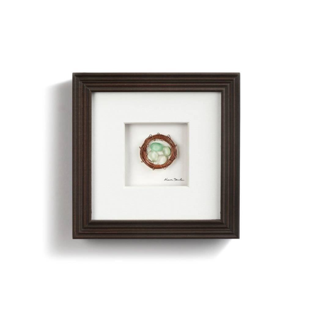 """Sharon Nowlan Four In The Nest Pebble Art 6"""" Square *final few"""