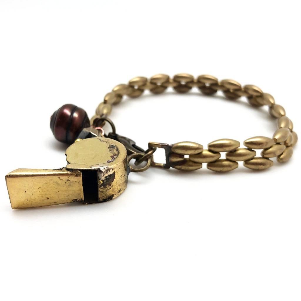 Vintage Brass Whistle Bracelet