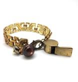 Vintage Brass Chain Whistle Bracelet
