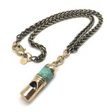 OOAK Snake Skin Wrapped Vintage Conductor's Whistle Necklace