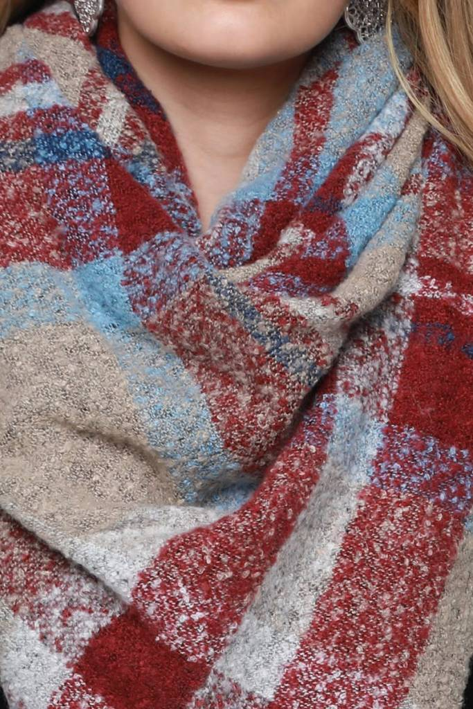 Fleurish Home Brushed Boucle Plaid Blanket Scarf