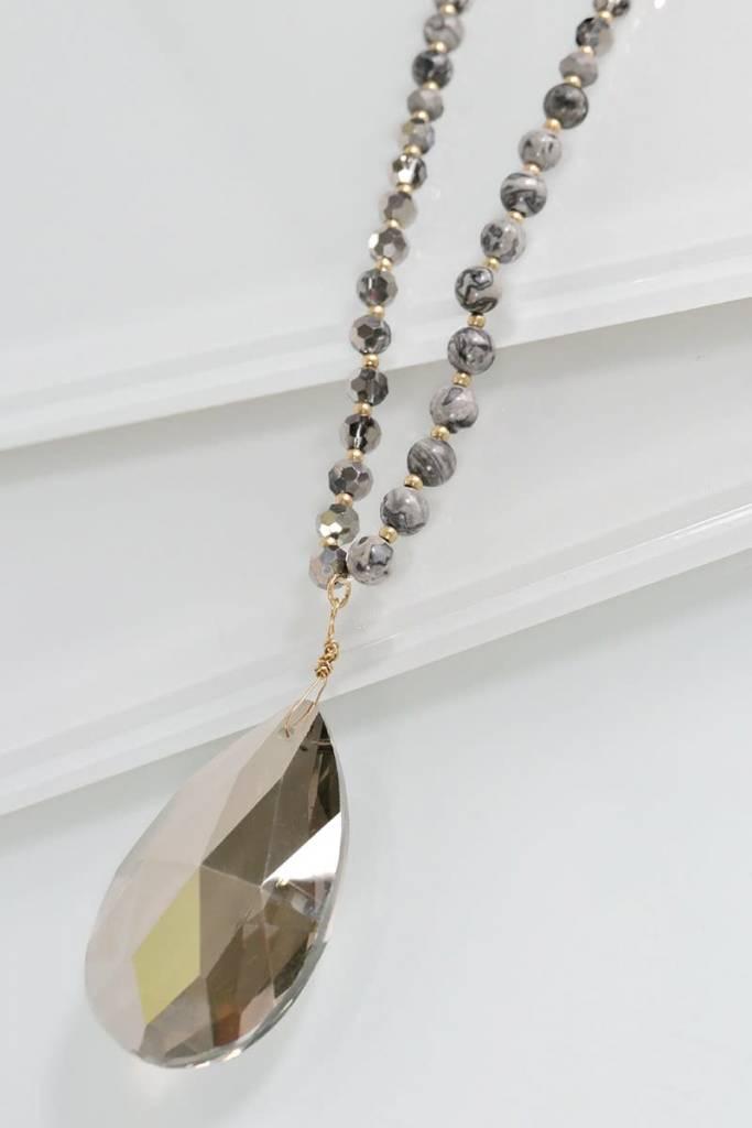 Fleurish Home Crazy Jasper Stone & Teardrop Glass Necklace