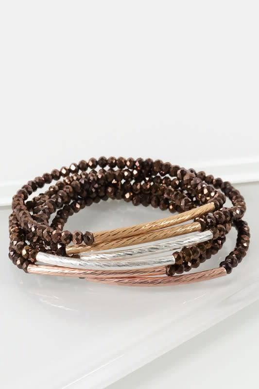 Fleurish Home Multi-Strand Beaded Stretch Bracelet