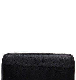 Fleurish Home Black Leather Zipper Long Wallet