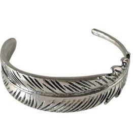 Fleurish Home Silver Metal Feather Cuff Bracelet