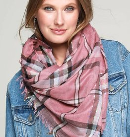 Lightweight Woven Plaid Square Scarf