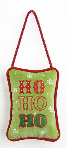 Fleurish Home Ho Ho Ho Velvet Door Hanger Pillow