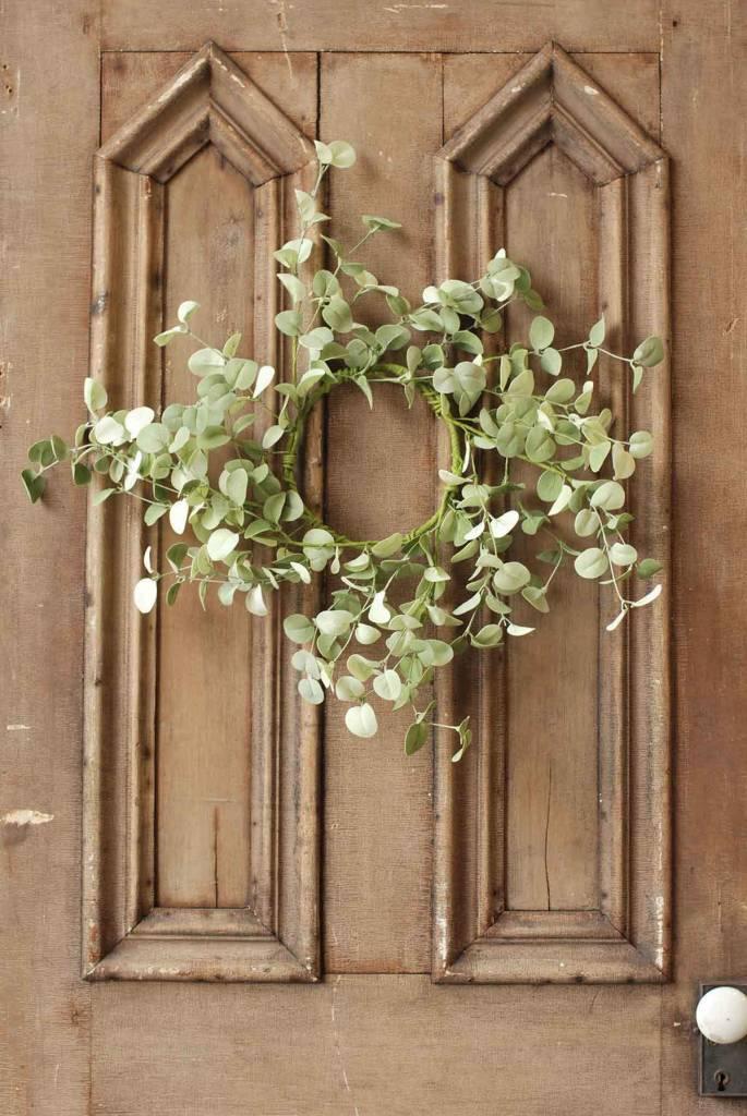 Fleurish Home Silver Drop Eucalyptus Mini Wreath/Candle Ring
