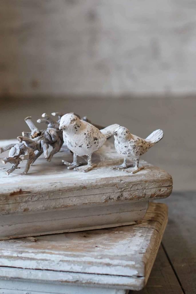 """Fleurish Home Vintage White Iron Bird 4"""""""