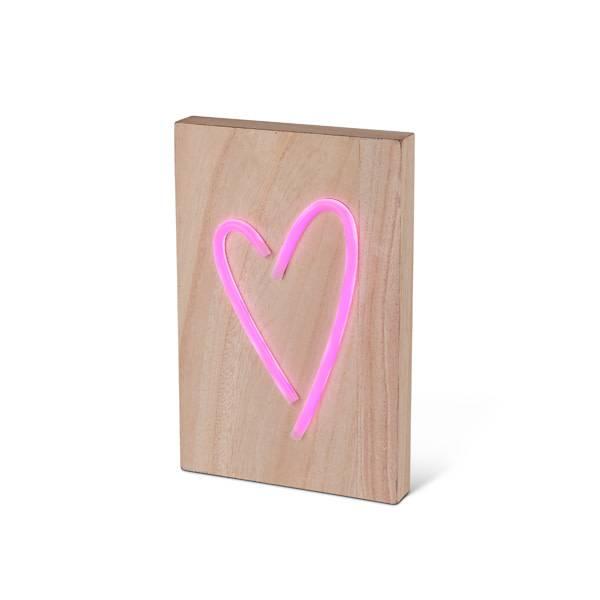 Fleurish Home Neon Heart on Wood