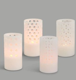 Fleurish Home Carved Wax Candle w Flicker Glow (choice of 4 styles)