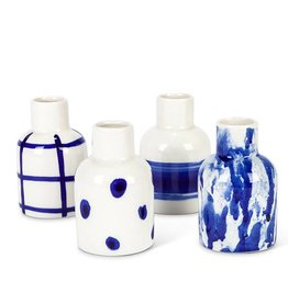 Blue & White Stoneware Vase (choice of 4 styles)