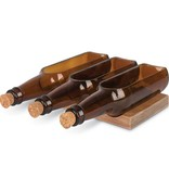 Fleurish Home Beer Bottle Trio Dip Bowl Set on Wood Boat
