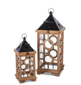 Fleurish Home Lg Wood Circles Lantern
