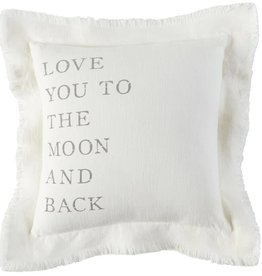 Mudpie MOON AND BACK FRAYED PILLOW