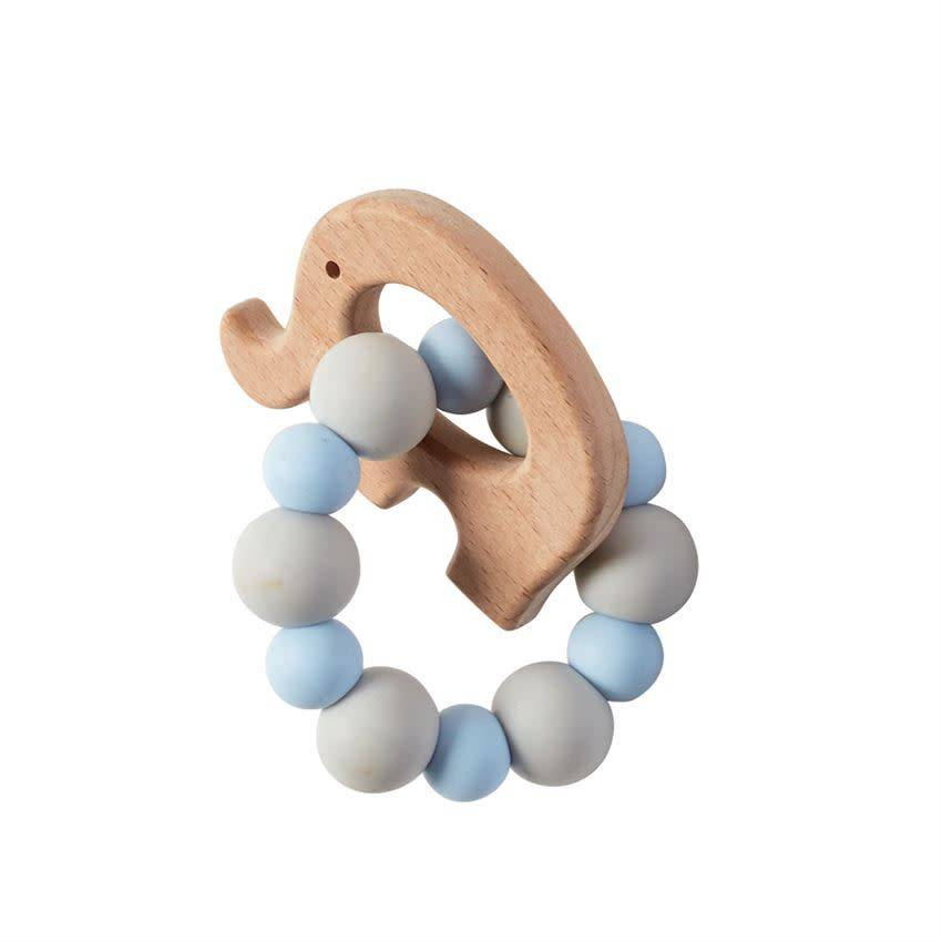 Mudpie ELEPHANT WOOD TEETHER BLUE