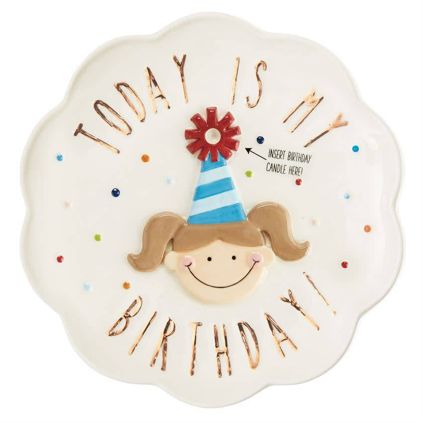 Mudpie BIRTHDAY GIRL CANDLE PLATE (retired version) *last chance