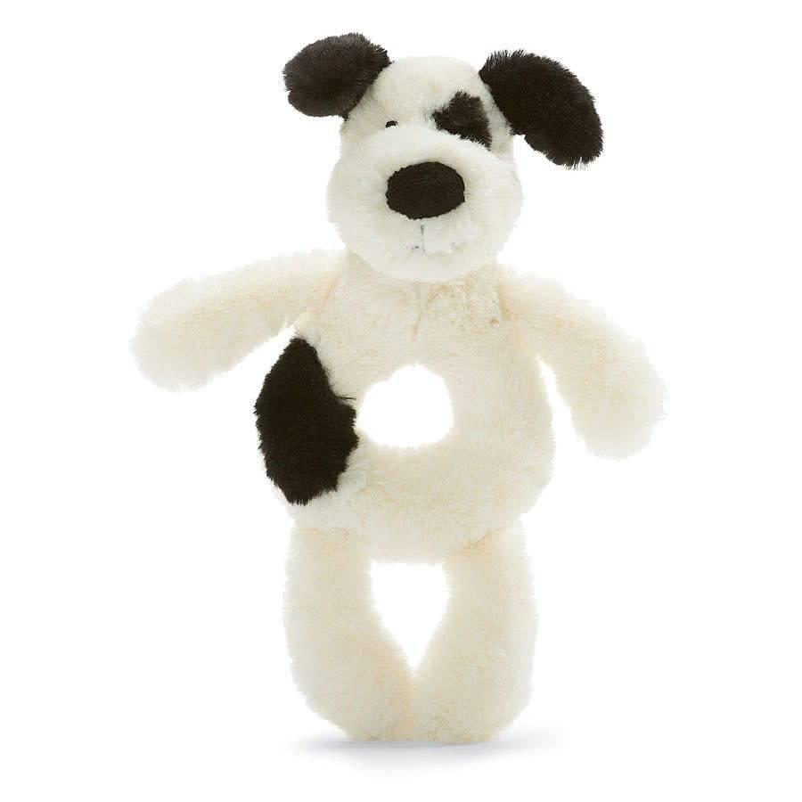 Jellycat Bashful Black & Cream Puppy Ring Rattle