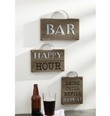 Mudpie HAPPY BAR PLAQUE WITH HANDLE *last chance