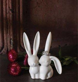 Fleurish Home White Ceramic Bunny Rabbit Figurine & Ring Holder