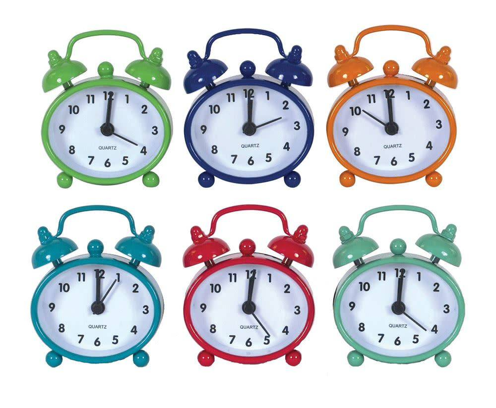 Fleurish Home Mini Metal Alarm Clock (Choice of 6 Bright Colors)