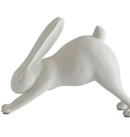 "Fleurish Home 7""L Resin Downward Dog Yoga Rabbit, White"