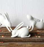 "Fleurish Home 7""L Resin Downward Dog Yoga Rabbit, White"