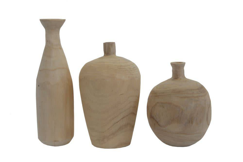 Fleurish Home Paulownia Wood Vase (Choice of 3 Styles)