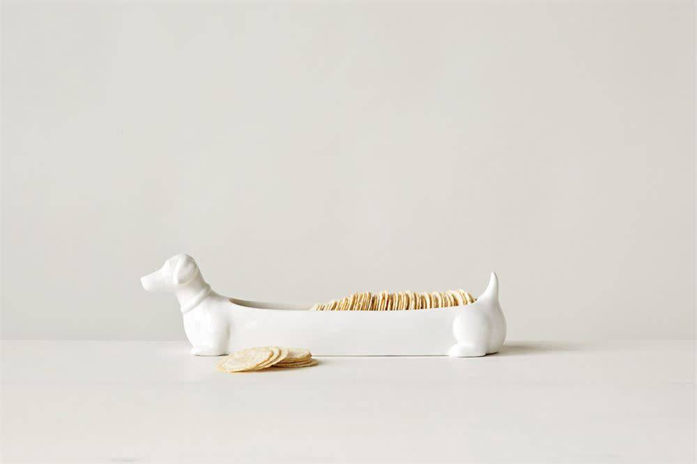 Fleurish Home White Ceramic Dachshund Cracker Dish