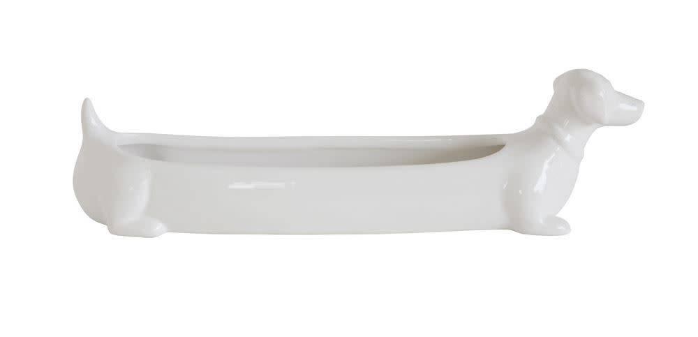 Fleurish Home White Ceramic Dachshund Cracker Dish