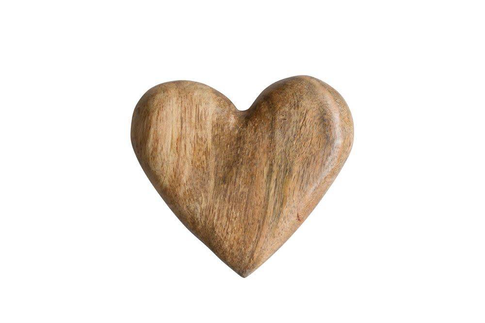 Fleurish Home Hand-Carved Mango Wood Heart