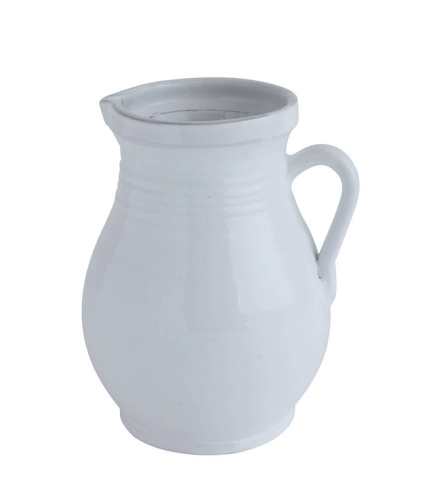 Fleurish Home White Terra-cotta Pitcher