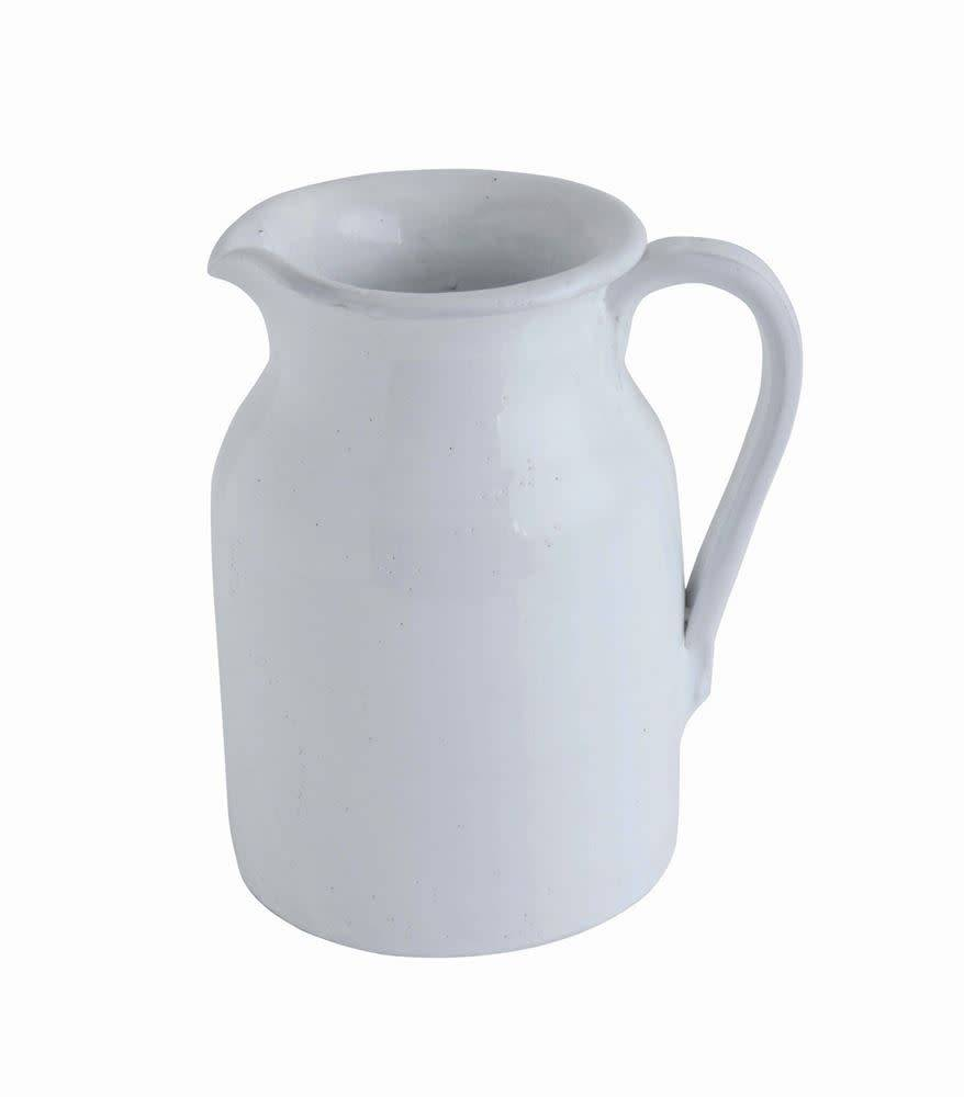 Fleurish Home Med White Terra-cotta Pitcher
