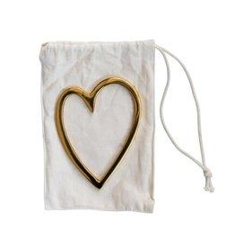 "Fleurish Home Brass Heart in Drawstring Bag (3""L x 4""H)"