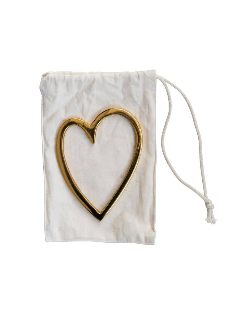 "Fleurish Home Brass Heart in Drawstring Bag (3""L x 4""H)"