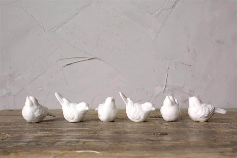 Fleurish Home Mini White Ceramic Bird (choice of 6 styles)