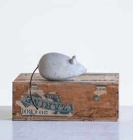Fleurish Home Cement Mouse w String Tail