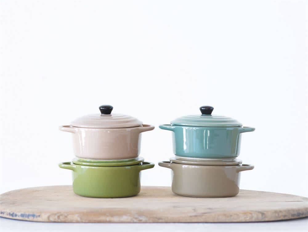 Fleurish Home Stoneware Mini Baker w/ Lid (Choice of 4 Earthy Colors)
