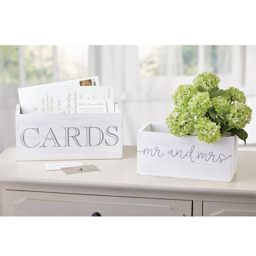Mudpie MR & MRS CARDS BOXES (SET OF 2) *last chance