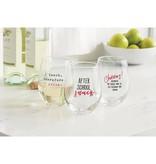 Mudpie CHEERS STEMLESS WINE GLASS *last chance