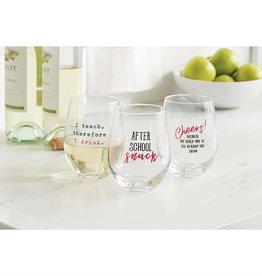 Mudpie CHEERS STEMLESS WINE GLASS