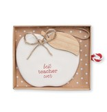 Mudpie BEST TEACHER CERAMIC ORNAMENT