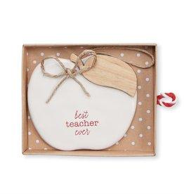 Mudpie BEST TEACHER CERAMIC ORNAMENT