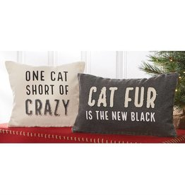Mudpie CAT FUR WASHED CANVAS PILLOW *last chance