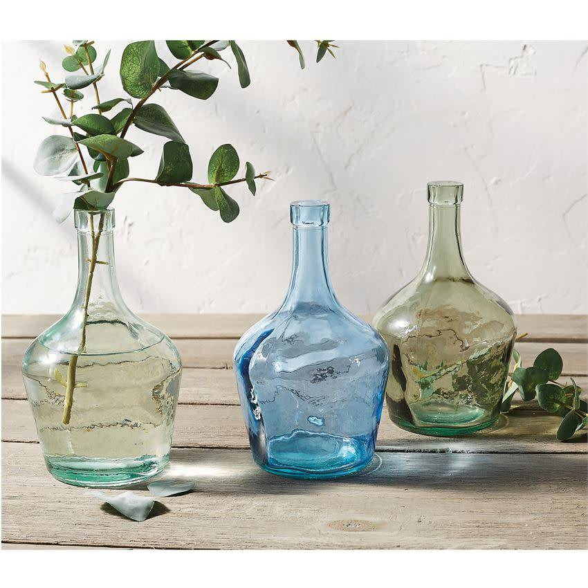 Mudpie BLUE LONG NECK GLASS BOTTLE